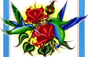 A beautiful image of two blue and green hummingbirds eating pollen from red flowers.