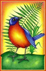 A gorgeous orange and blue bird with green fern leaf in the background.