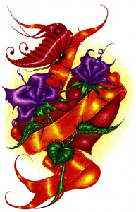 A bright red heart with orange ribbon and deep purple flowers and magnificent red butterflies.