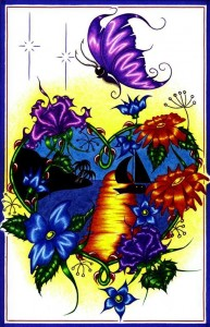 Stunning island style image with a blue heart, multicolored flowers and purple butterfly with a yellow backdrop.