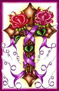 A splendid brown cross wrapped in a beautiful purple ribbon and some gorgeous red flowers.