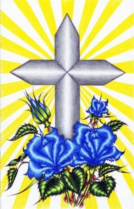 A lovely silver cross wrapped with bold blue flowers and sunshine bursting from the cross.